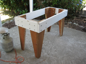 Outside table legs and skirt