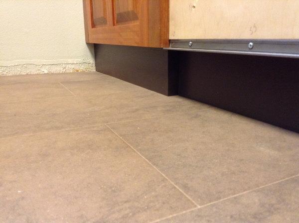 Lyptus Cabinet toe kick at wall