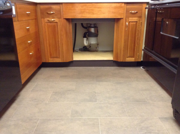 Lyptus cabinet toe kick under sink area in the galley.