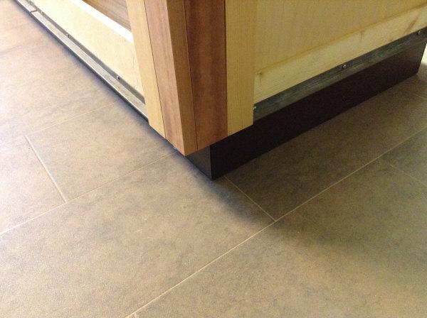Lyptus cabinet toe kick end of cabinet