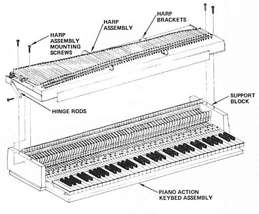 Rhodes Early Design Harp/Action Assembly - Exploded View