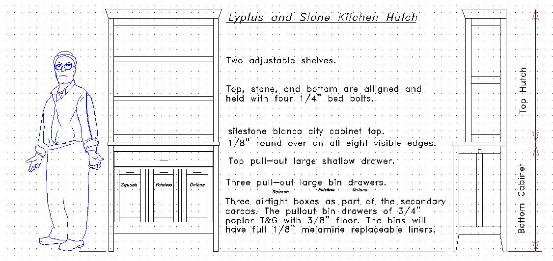 Lyptus and stone kitchen hutch